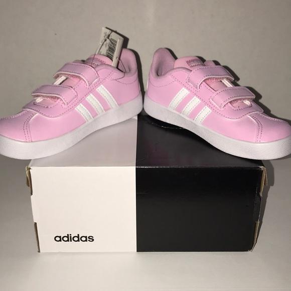 2d6c24cbcf8 Kids Velcro Adidas VL Court 2.0 pink sneakers sz10